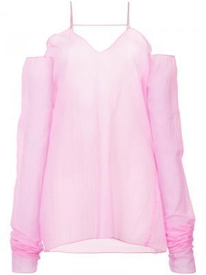 Прозрачный топ на одно плечо Misbhv. Цвет: розовый и фиолетовый