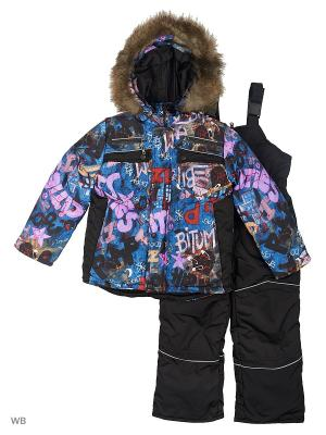 Зимний комплект для мальчика Граффити Пралеска. Цвет: синий
