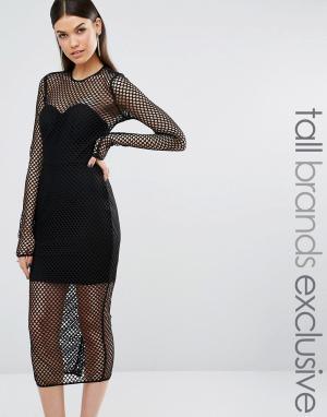 Taller Than Your Average Черное сетчатое платье миди с длинными рукавами TTYA Atlanta. Цвет: черный