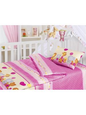 Комплект постельного белья, ясли, наволочка 40*60 см, бязь, День Рождения Волшебная ночь. Цвет: фуксия