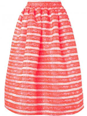 Пышная жаккардовая юбка Minjukim. Цвет: жёлтый и оранжевый