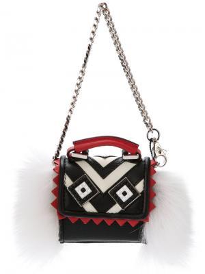 Миниатюрная сумка Alex Mask Fur Les Petits Joueurs. Цвет: чёрный