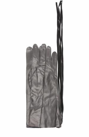 Кожаные перчатки с декоративной молнией Ann Demeulemeester. Цвет: черный
