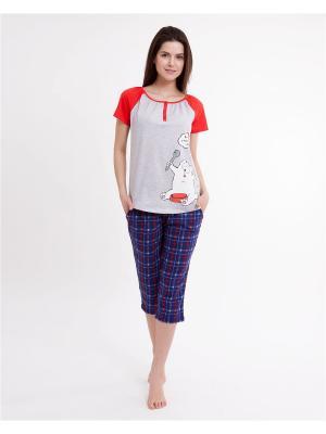 Комплект одежды: футболка, бриджи Mark Formelle. Цвет: темно-синий, красный, серый меланж