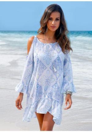 Пляжное платье. Цвет: голубой с рисунком