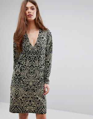 Ganni Платье с длинными рукавами и блестящим принтом Schiffer. Цвет: золотой