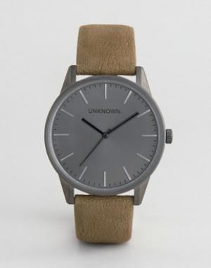UNKNOWN Классические часы с зеленым кожаным ремешком. Цвет: зеленый