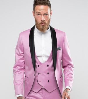 Noose & Monkey Супероблегающий пиджак-смокинг. Цвет: розовый