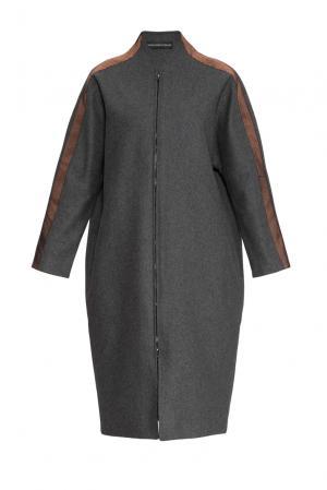Пальто из шерсти 161176 Anna Dubovitskaya. Цвет: серый
