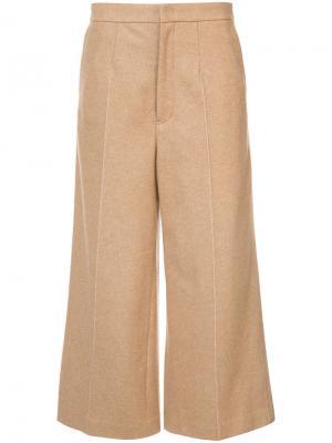 Классические широкие укороченные брюки  Ys Y's. Цвет: коричневый