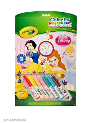 Раскраска по номерам Принцессы Crayola. Цвет: белый, розовый