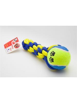 Игрушка канатная с теннисным мячом, 16,5 см Doggy Style. Цвет: синий