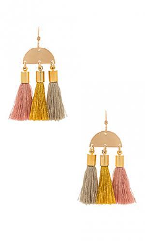 Серьги с серёжками maya Mimi & Lu. Цвет: металлический золотой