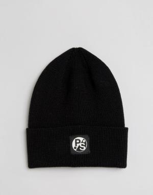 Paul Smith Черная шапка‑бини из мериносовой шерсти PS By. Цвет: черный