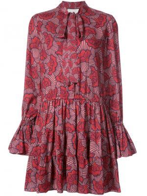 Платье с цветочным рисунком Alexis. Цвет: красный