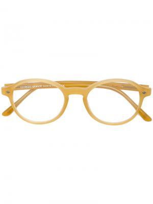 Очки в круглой оправе Giorgio Armani. Цвет: жёлтый и оранжевый