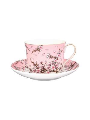 Чайная пара Сакура на розовом Elan Gallery. Цвет: белый, розовый