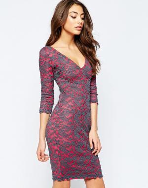 Hedonia Платье миди с контрастной кружевной накладкой Indogo. Цвет: розовый