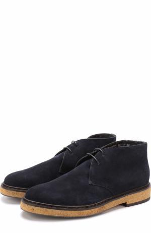 Замшевые ботинки с внутренней меховой отделкой Santoni. Цвет: темно-синий