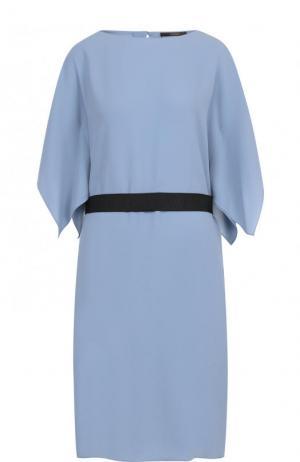 Однотонное платье-миди с контрастным поясом Windsor. Цвет: голубой
