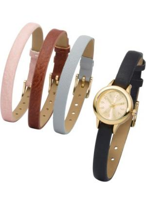 Часы + 4 браслета (розовый жемчуг светло-серый черный коричневый золотистый) bonprix. Цвет: розовый жемчуг + светло-серый + черный + коричневый + золотистый
