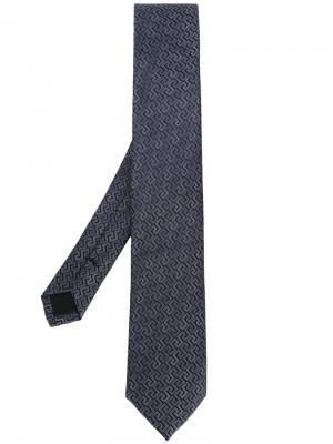 Галстук с классической вышивкой Versace. Цвет: синий
