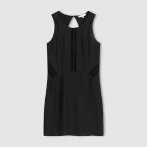 Платье без рукавов, отрезная деталь сзади, открытая спина COLOR BLOCK. Цвет: черный