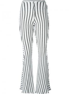 Расклешенные брюки в полоску Richard Malone. Цвет: белый
