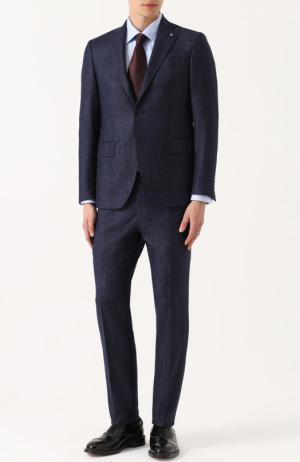 Шерстяной костюм в клетку с пиджаком на двух пуговицах Sartoria Latorre. Цвет: темно-синий