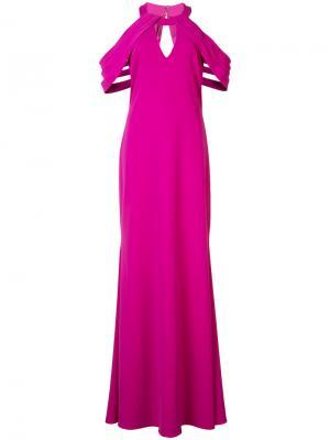 Платье с плиссированной деталью и вырезным дизайном Badgley Mischka. Цвет: розовый и фиолетовый
