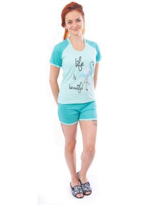 Пижама (футболка,шорты) Валерия 37. Цвет: черный, бирюзовый