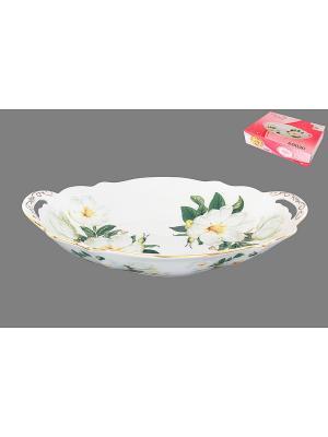 Блюдо Белый шиповник Elan Gallery. Цвет: белый, зеленый