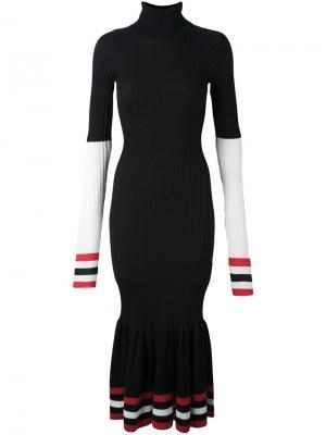 Платье с контрастной окантовкой в полоску Circus Hotel. Цвет: чёрный