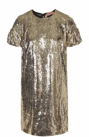 Мини-платье прямого кроя с пайетками No. 21. Цвет: золотой