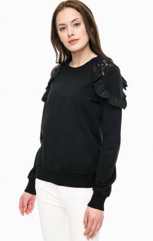 Черный хлопковый свитшот с кружевными вставками Kocca. Цвет: черный