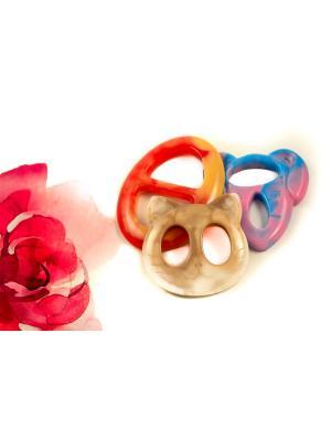 Пряжка Волшебная пуговица для шейного платка madam Пряжкина. Цвет: красный, кремовый, розовый