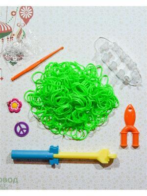 Набор резинок для плетения 500 крючок большой станок рогатка S-зажимы брелоки Loom Bands. Цвет: зеленый