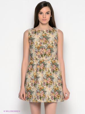 Платье Befree. Цвет: бежевый, зеленый