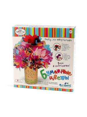 Чудо -Творчество. Сделай сам: Бумажные цветы. Набор в коробке. Чудо-творчество. Цвет: розовый, желтый, синий