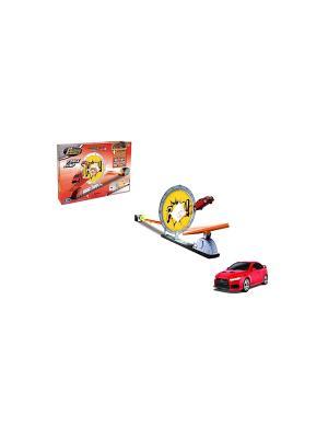 Трек с пусковым механизмом машиной mitsubishi lancer evolution x Happy Well. Цвет: красный, желтый, серый