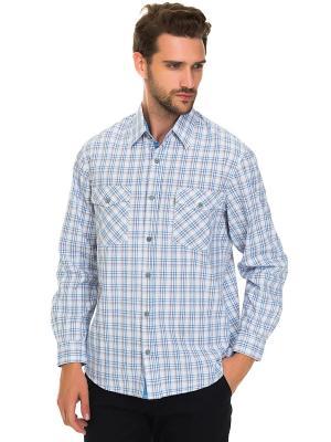 Рубашка Westrenger. Цвет: голубой, белый, темно-серый