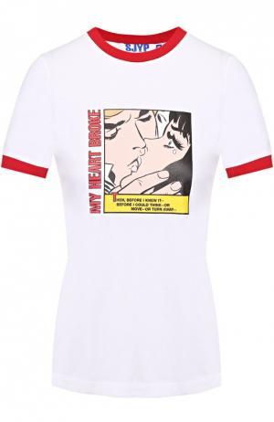 Хлопковая футболка с контрастным принтом Steve J & Yoni P. Цвет: красный