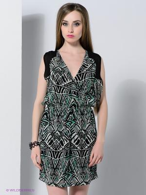 Платье Vila. Цвет: черный, зеленый, светло-серый