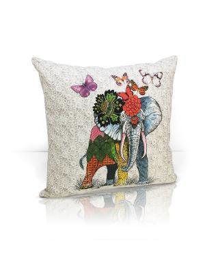 Декоративная подушка Kalahari Kauffort. Цвет: зеленый, желтый, кремовый