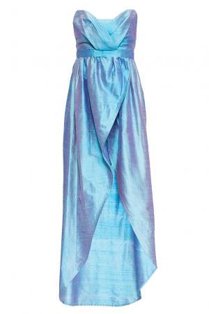 Платье из шелка с поясом 165196 Villa Turgenev. Цвет: синий