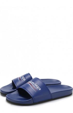 Кожаные шлепанцы с логотипом бренда Balenciaga. Цвет: синий