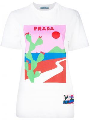 Футболка с кактусом Prada. Цвет: белый