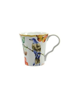 Кружка Дивная птица Elff Ceramics. Цвет: белый, синий, красный