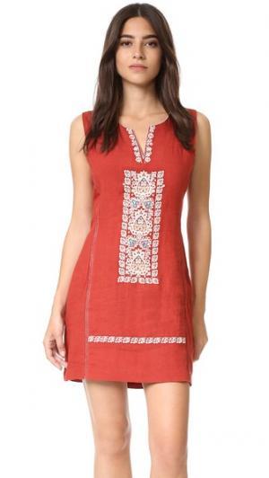 Свободное платье с вышивкой plenty by TRACY REESE. Цвет: коричневый