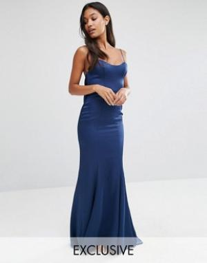 Fame and Partners Атласное платье‑комбинация макси с годе. Цвет: темно-синий